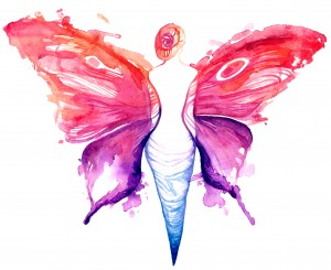 painting of beautiful woman butterfly